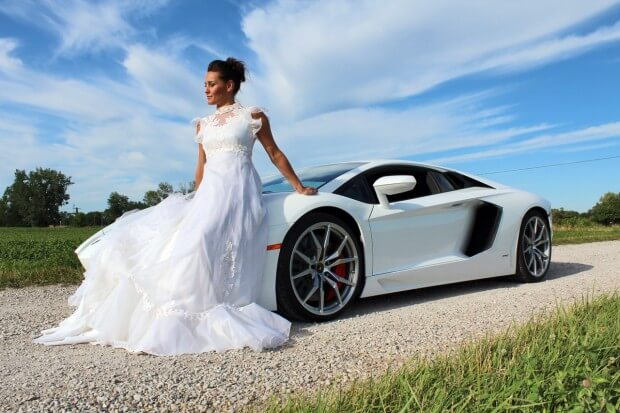 Bride on Lamborghini