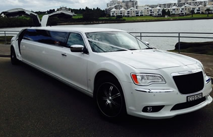 Stretch limo with gull wing doors