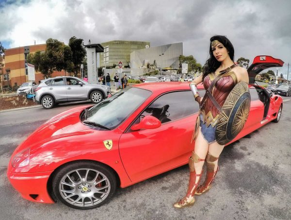 Ferarri limo with Wonder Woman