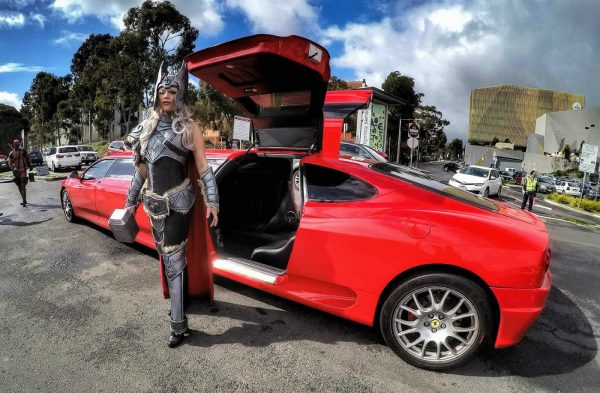 Ferrari Limo with Female Thor