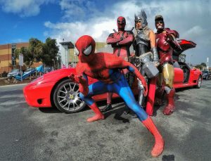 Ferrari Limo with the Super Heroes